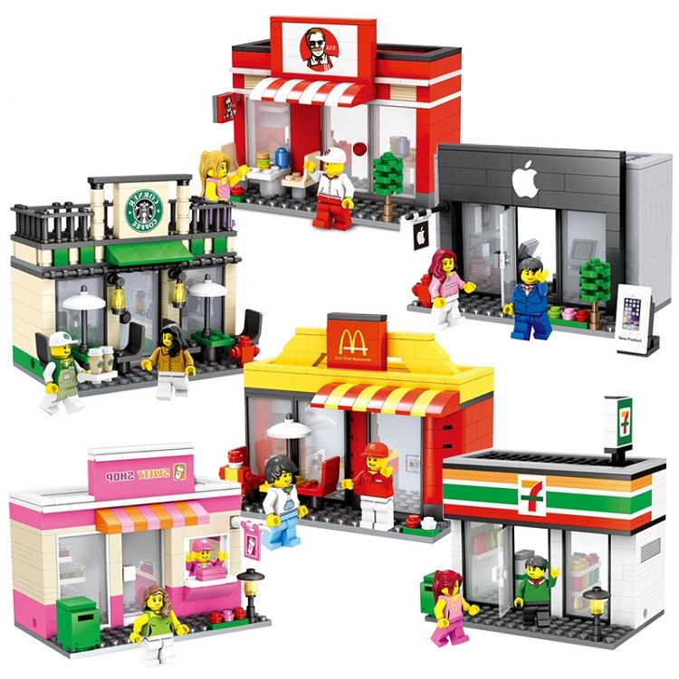 Mini Street Model Store Shop City Series with Starbuckks Apple CKFC MMcDonald`s Building Block Toys Compatible with Legoo Hsanhe managing the store