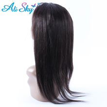 Ali Sky Products Brazilian Straight 360 Lace Frontal Closure 10-20 Inch Pre Plucked Natural Hairline Remy Human Hair Extensions