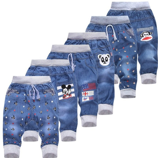 Hot Sale! 2016 New Kids Jeans Elastic Waist Straight Bear Pattern Denim Seventh Pants Retail Boy Jeans For 2-5 Year