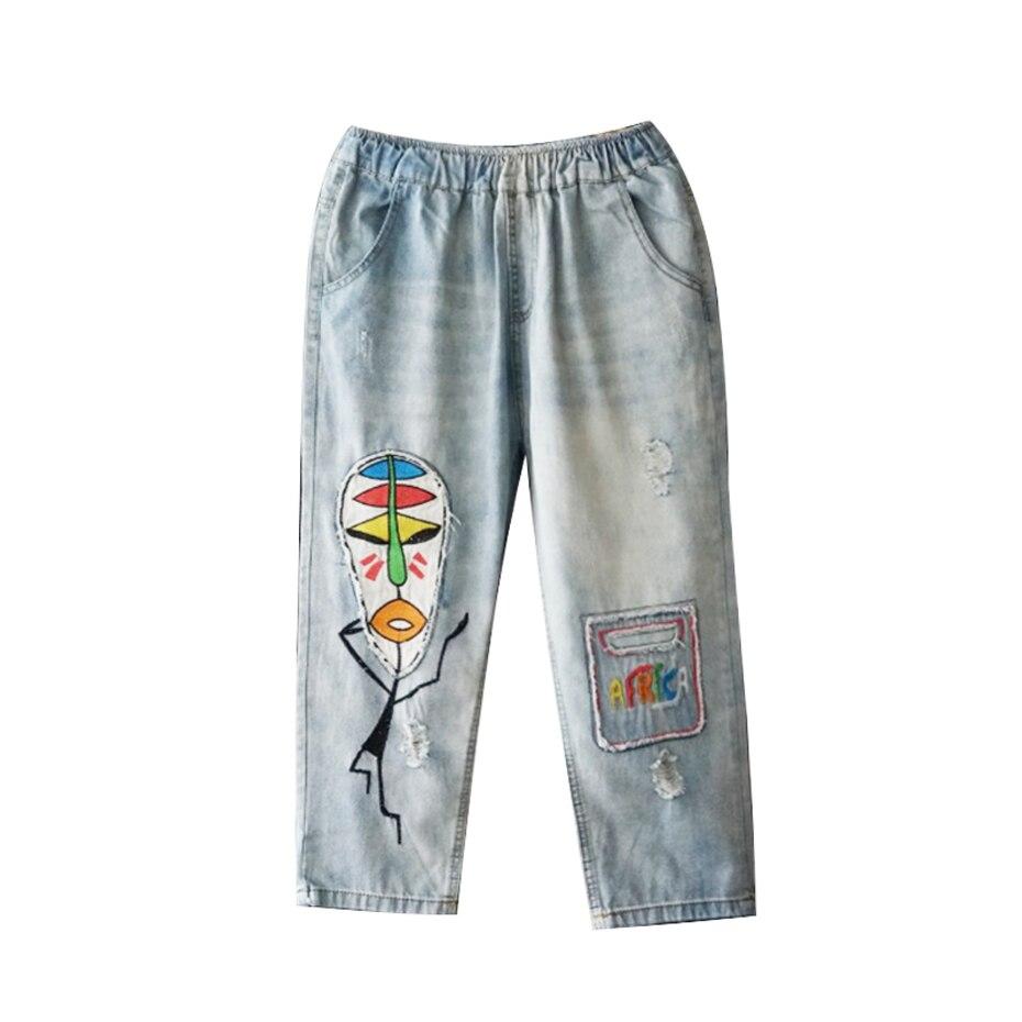 Sueltos Jeans Las Tamaño Para 2018 Vintage Bordado 180217 Azul De Americano Mezclilla Harem Mujeres Pantalones Casual Gran Moda PYdIYq