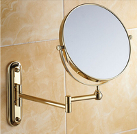 Bathroom Mirror Gold 8 inch Wall Mounted Brass 3X/1X Magnifying Mirror Folding Makeup Mirror Cosmetic Mirror Lady Gift