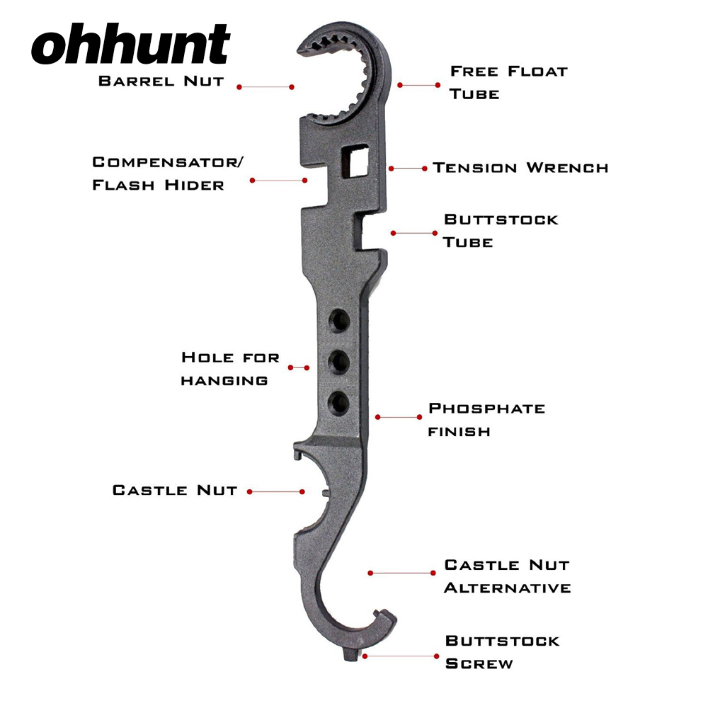 AR15 Combo Wrench Tool includes Castle Nut Wrench Barrel Nut Wrench Buttstock Tube Tool Muzzle Brake Flash Hider Handguard Tool (1)