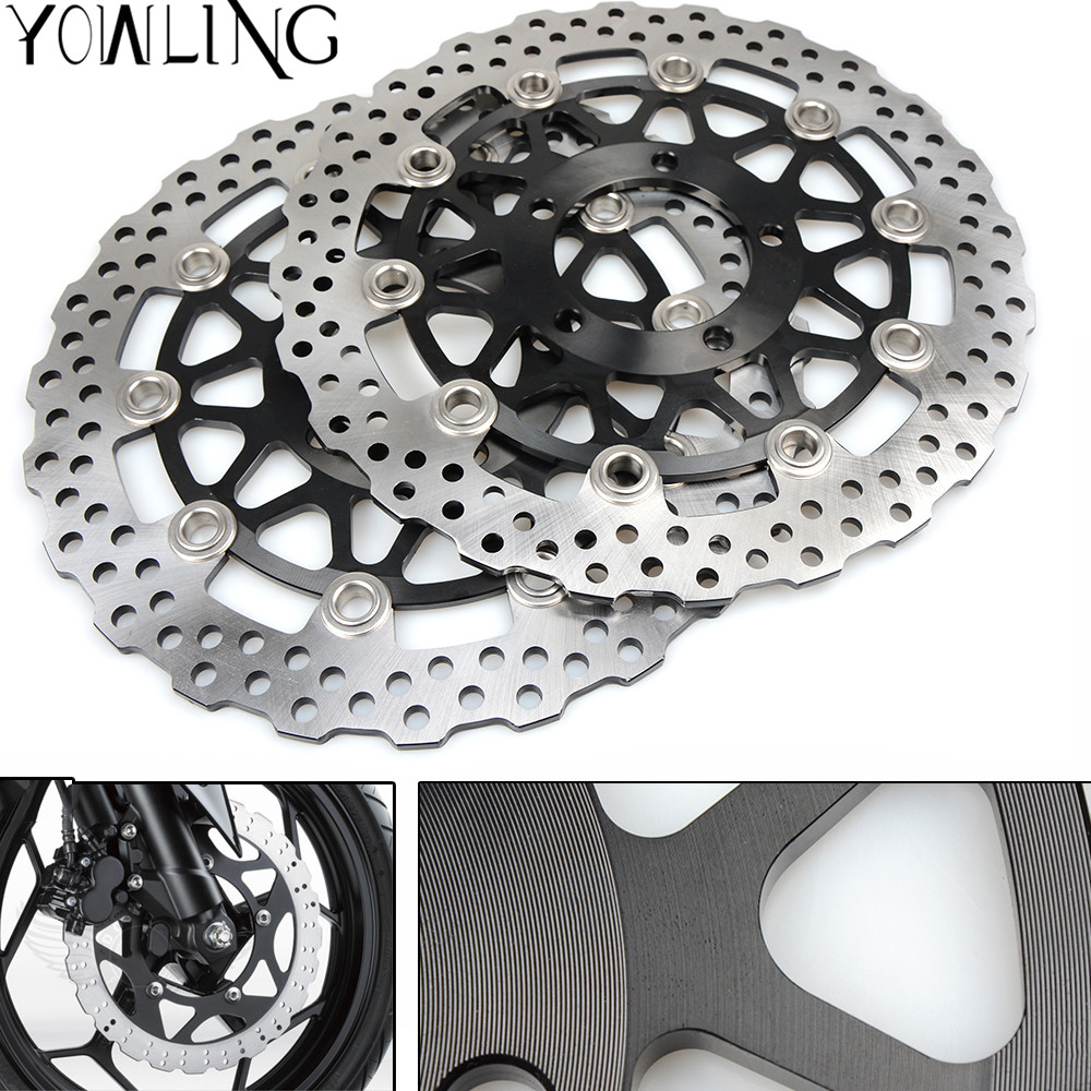 One Pair High quality CNC Floating Front Brake Disc Rotors For KAWASAKI ZZR 1400 A6F-A7F,C8F-C9F ZX1400A/C 2006 2007 2008 2009 one pair cnc high quality motorcycle front floating brake disc rotor for suzuki gsf1250 bandit abs non 2007 2008 2009 gsf1200 k6