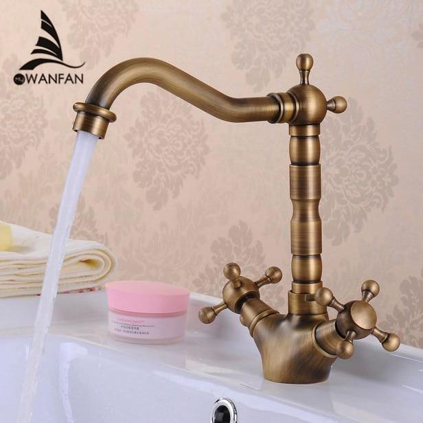 Basin Faucets Antique Brass Bathroom Sink Faucet 360 Degree Swivel Spout Double Cross Handle Bath kitchen