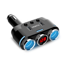 YANTU 2 USB Port 2 Way Auto Sockets Car Cigarette Lighter Adapter Splitter Lighter 5V 3.1A Output Power with Car Voltage Display(China)