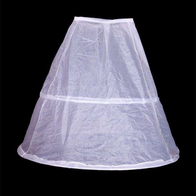 Flower Girls 2 Hoops White Underskirt 65cm Wedding Petticoat Children Kids Elastic Waist Drawstring One Layer Crinoline Half Sli