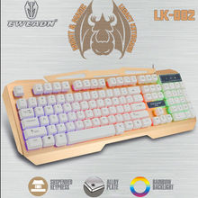 LK-002 Wired Rainbow Backlight Ergonomic LED illuminated Gaming Keyboard Backlit 104 Keys Usb Multimedia Gamer Keyboard Laptop