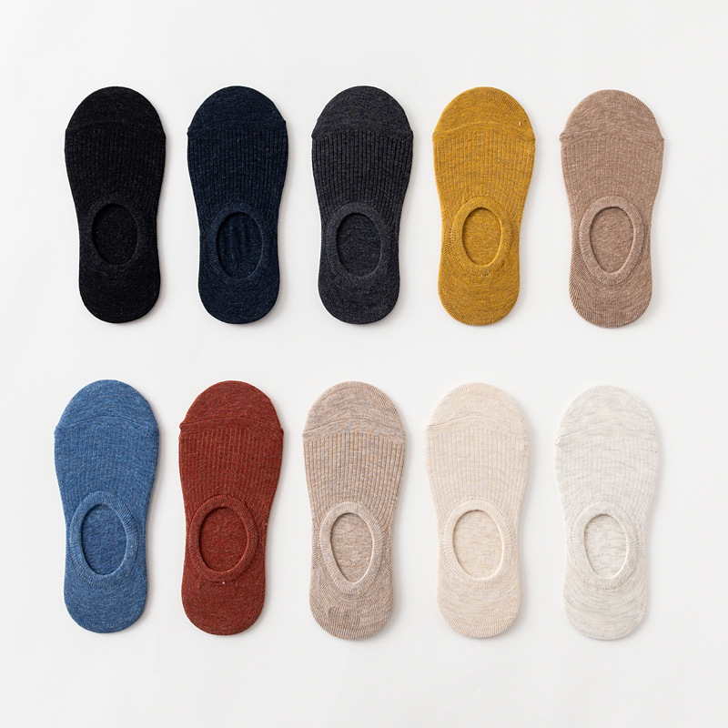 10 Pieces = 5 Pairs Summer New Japanese Solid Color Ladies Invisible Socks Silicone Non-slip  Women Cotton Socks Slipper Socks