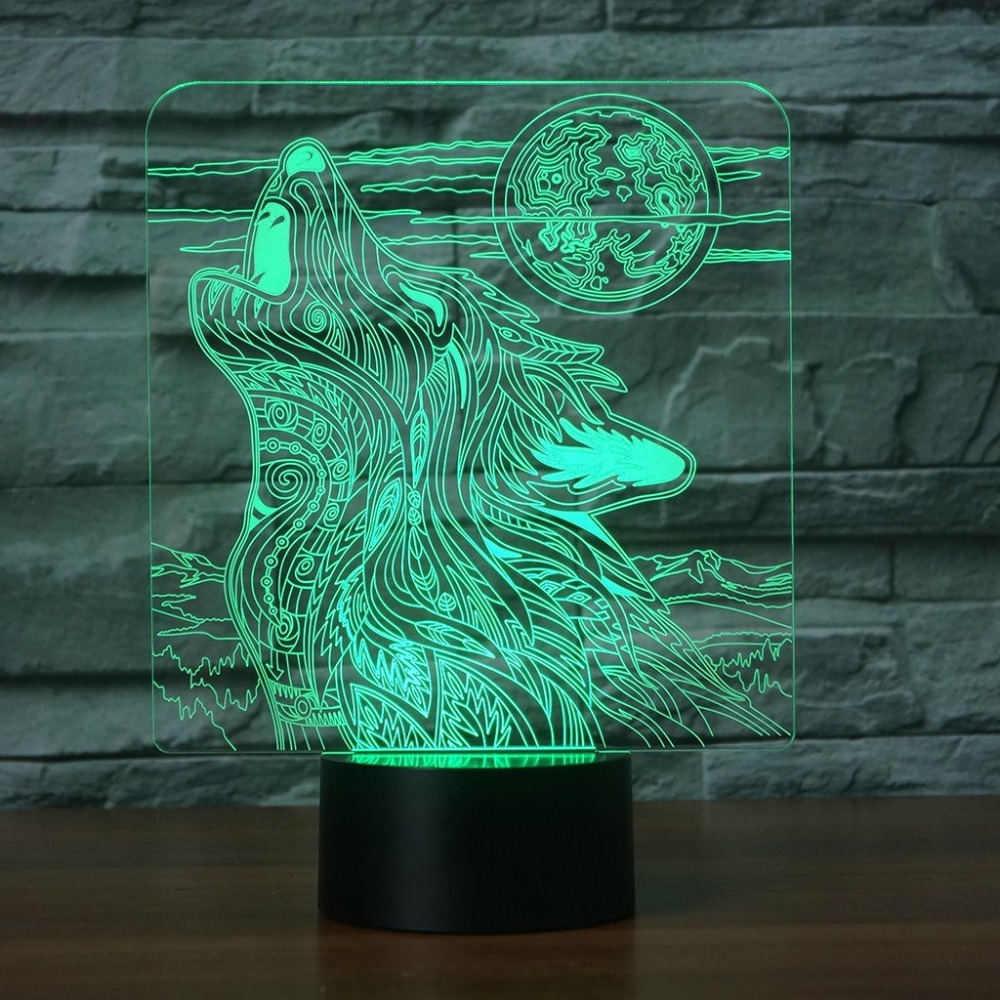 3D визуальный Night с подсветкой 7 цветов Изменение стол настольная лампа Home Decor сна акрил волком вой художественный светильник дети подарки