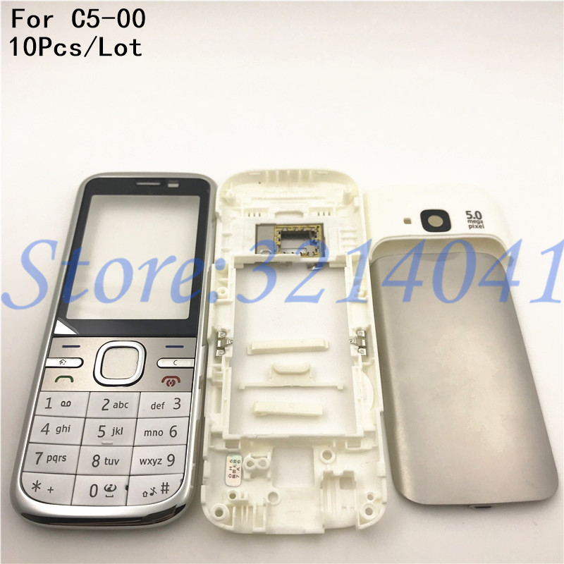 10Pcs/Lot Front Middle Frame Back cover Battery Cover For <font><b>Nokia</b></font> <font><b>C5</b></font> <font><b>C5</b></font>-00 Full <font><b>Housing</b></font> Cover Case With English Keypad image