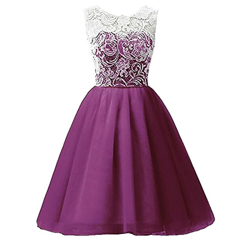 Ball Gown Scoop Neck Lace Cute   Girls   Knee-Length Party Prom Draped   Dress   Charming Chiffon First Communion   Flower     Girls     Dress