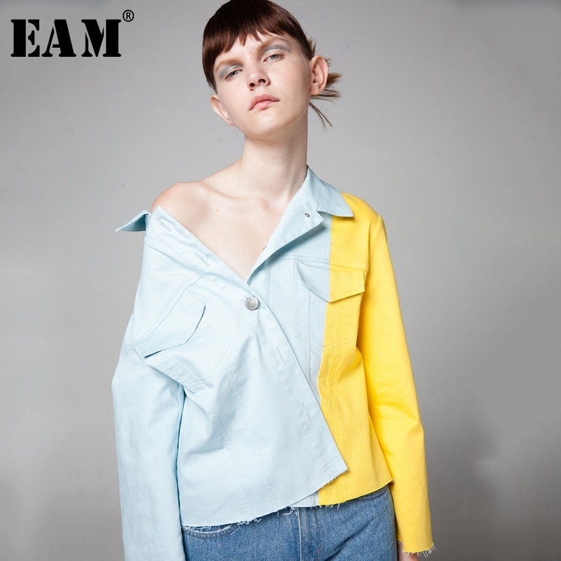 [EAM] 2018 New Summer Fashion Tide Light Blue Turn-down Collar Single Breasted Hit Color Pockets All-match Woman Jacket SA211