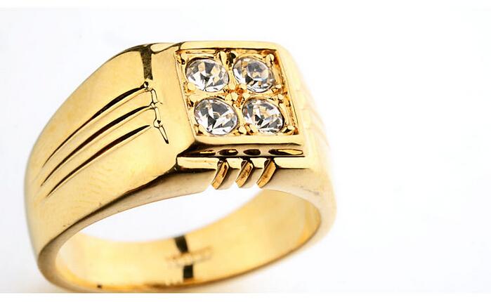 Hot Sale Men Gold Ring AAA Zircon Fashion Jewelry Rings Plated 18K
