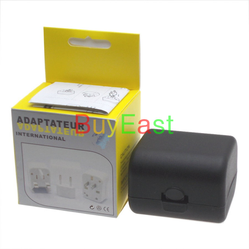 Free shipping World Global All In One Travle Adapter US/EU/GB/AU/China/Japan Universal Power Plug Converter  Black