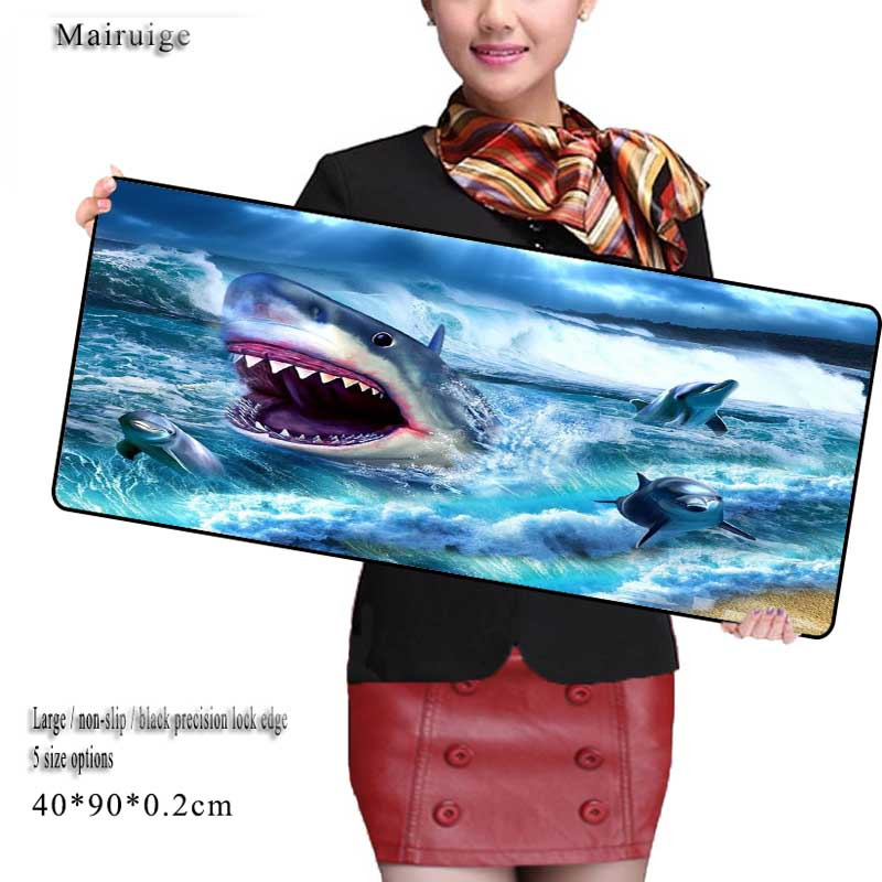 Great White Shark Cartoon Large Game Mouse Pad 900*400 with Edge Locking Speed Version Game Keyboard Pad for Gamer