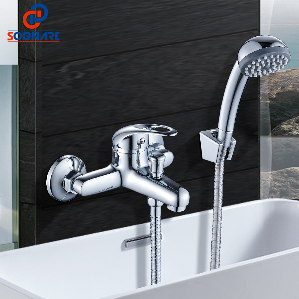 SOGNARE Brass Wall Mounted Rain Shower Chrome Polished Shower Tap Bath Shower Faucet Set Bathtub Faucet With Hand Shower D5201 sognare brass body bathroom shower faucet single handle cold and hot bath shower faucet set with hand shower chrome finish d5126
