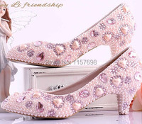 Pink Pearl Sweet Princess Wedding Shoes Med Heels Shallow Mouth Shoes Pointed Toe Bridal Shoes Crystal