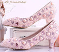 Pink pearl sweet princess wedding shoes med heels shallow mouth shoes pointed toe bridal shoes crystal shoes