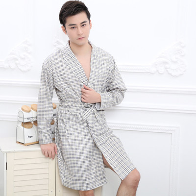 2018 summer men sweat elegant kimono bath robe male spa waffle bathrobe plus lounge robes sexy mens dressing gown