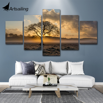Canvas Painting Vintage Poster Wall Art Frame Printed Pictures 5 Panel Sunrise Tree Landscape Photo For Living Room Home Decor