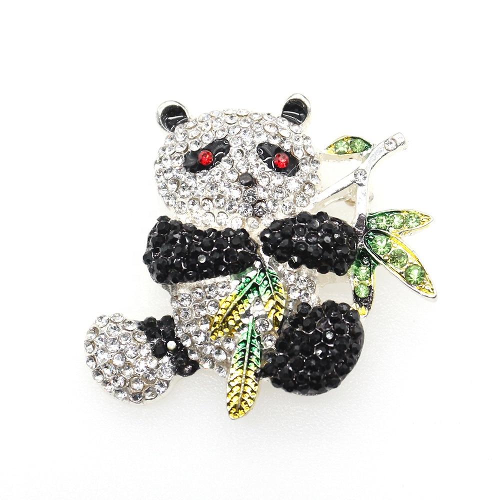 50pcs/100pcs Austrian Crystal Enamel Lovely Bamboo Panda Brooch for Child