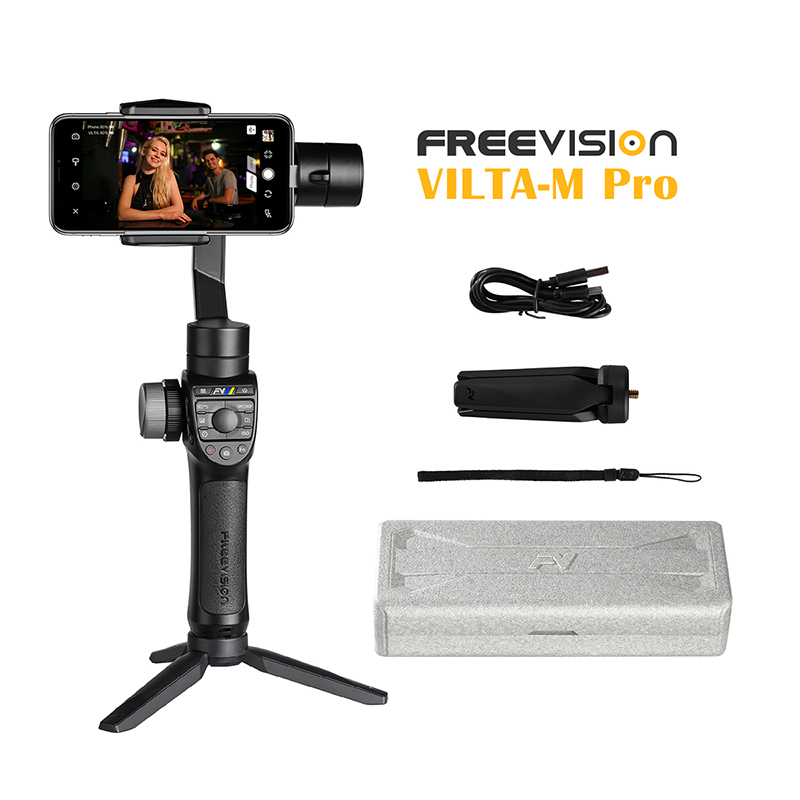 Em Estoque Freevision Vilta-M Pro 3-Eixo Smartphone Cardan Handheld Estabilizador para Huawei IPhone X XS Samsung gopro 5/6/7