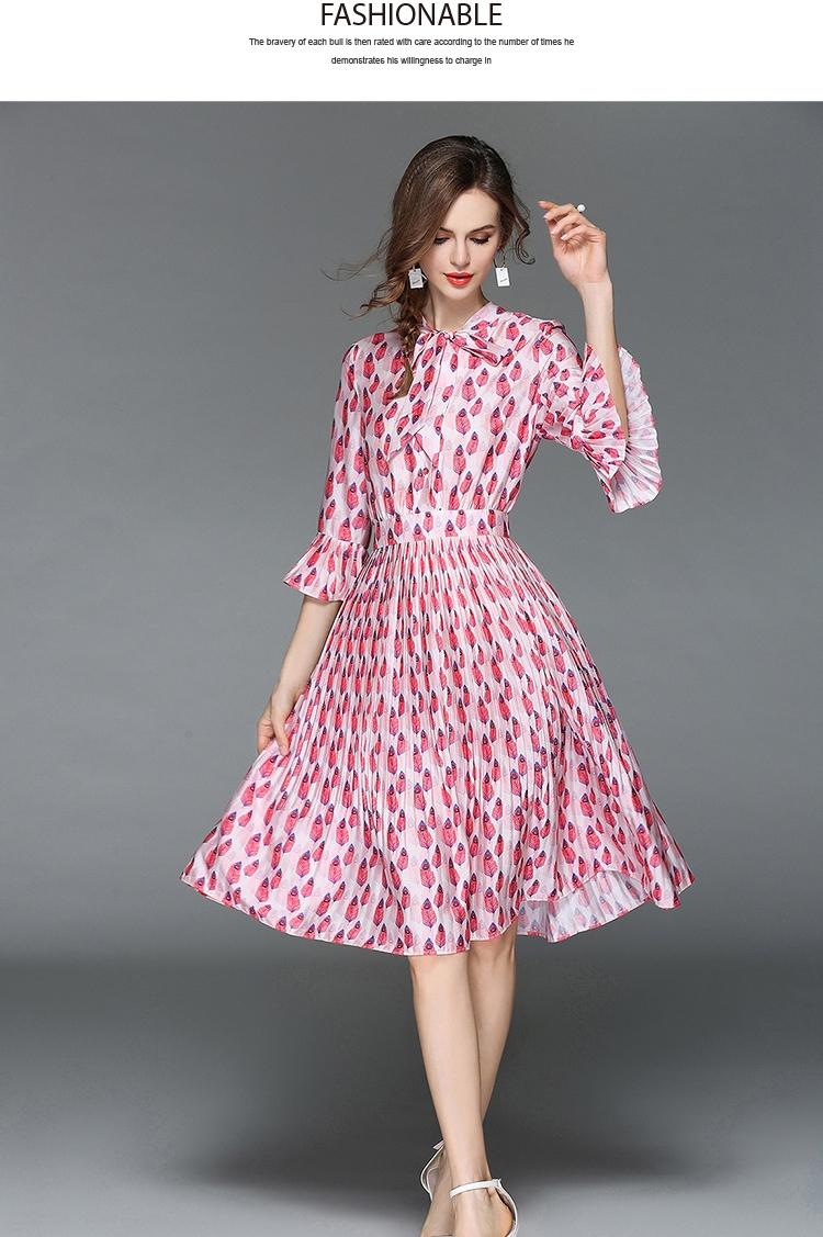 Woman Horn Sleeve Printed Pink Summer Dress Womens Dresses New Arrival 2018 Midi Beach Party Dress Dames Kleding K6012 4