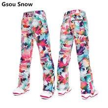 Gsou Nieve colorida fresca pantalones de esquí de snowboard mujeres pantalones de chándal pantalones pantalones esqui ski femme pantalon