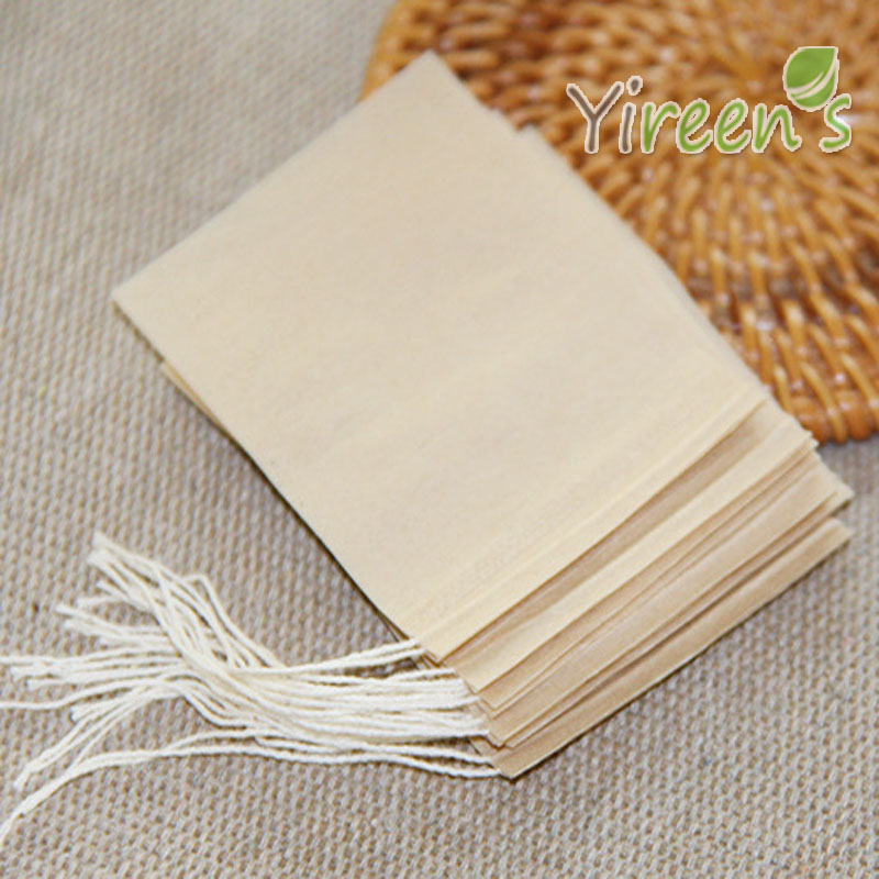 Free shipping Wholesale 10000pcs 50 X 70mm Brown color unbleached teabag Disposable Tea Filters Strings tea
