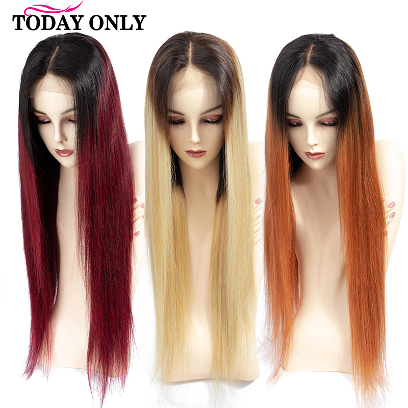 TODAYONLY Brazilian Straight Lace Front Human Hair Wigs For Black Women Burgundy Blonde Lace Front Wig