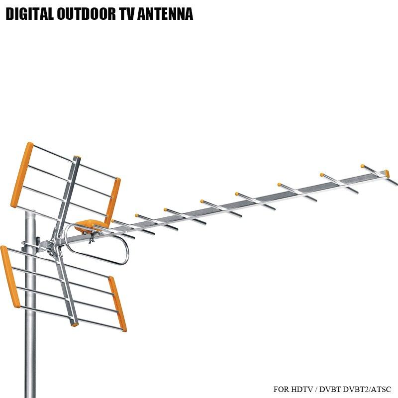 Antenne de télévision à Gain élevé pour HD numérique HDTV DVBT/DVBT2 470 MHz-860 MHz antenne de télévision extérieure antenne HDTV amplifiée numérique