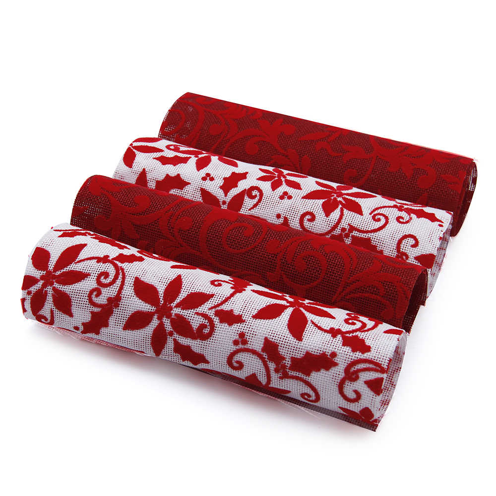 David accessories 20*34 CM Flor de Navidad flocado tela de lino tela DIY costura telas Patchwork costura, c6249