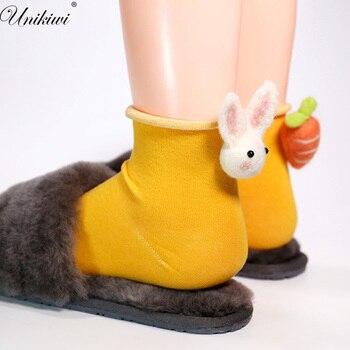 UNIKIWI.Kawaii Women's Cartoon Rabbit Carrot Socks.Casual Candy Color Felt Balls Ankle Socks.Girl Ladies Cute Animals Sox Hosen