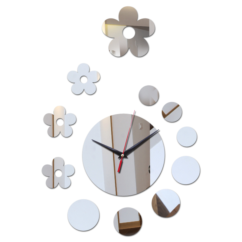 Hot Diy Mirror Acrylic Material Wall Sticker Wall Watches For Living Room Flower Decor Special Quartz Wall Clocks