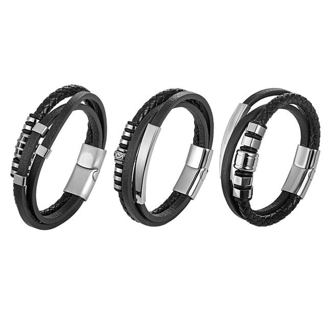 Купить мужской многослойный кожаный браслет с магнитной пряжкой из картинки