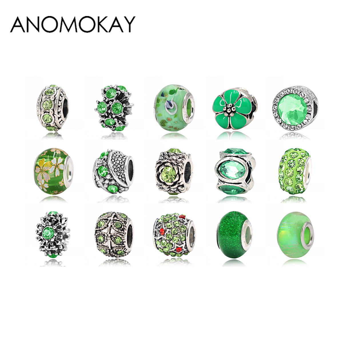 ANOMOKAY 2PCS/LOT Green Style Crystal Enamal Bead fit Pandora Bracelet Leaf Charms for DIY Jewelry Marking for Women Gift
