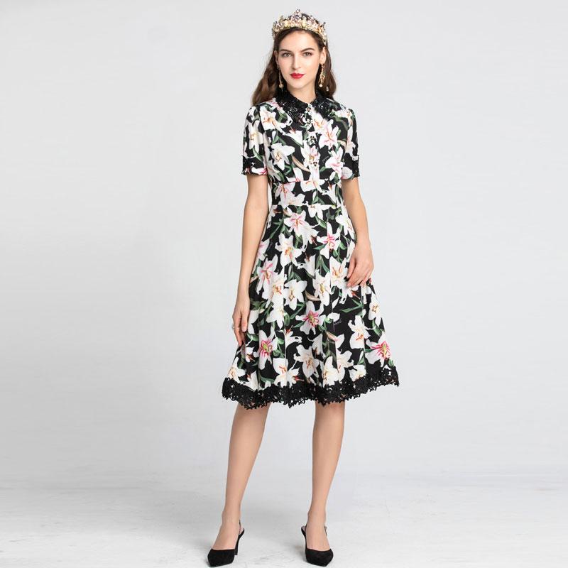 2019 automne xxl haute qualité mode noir, blanc avec floral imprimé dentelle femmes robes piste design robe midi femme