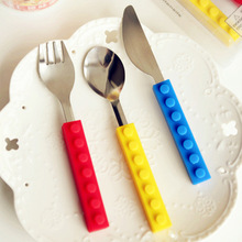 Funny silicone cutlery handle tableware for baby kids training dinnerware set Christmas gift for child Tableware set