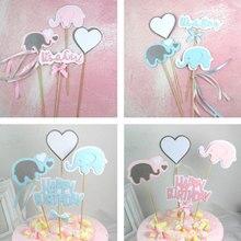 4 stks/partij Cartoon baby olifant cake topper verjaardag cup cake decoratie baby shower kids verjaardagsfeestje bruiloft gunst benodigdheden