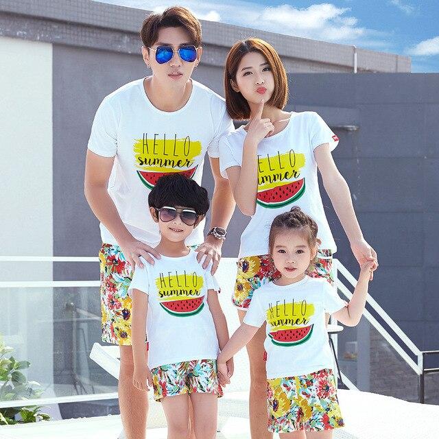 family summer sets 2pcs tshirt short pants watermelon printing
