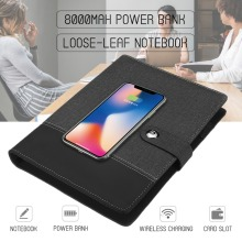 Power Bank Notebook Multi Functional with 8000 mAh Qi Wireless Charging Note Book Binder Spiral Diary