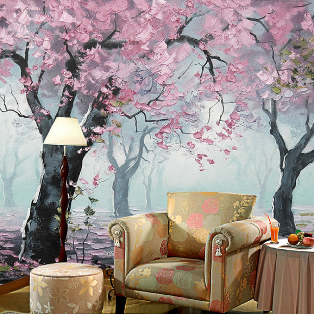 AuBergewohnlich Kundenspezifische Moderne Pflanzen Landschaft Malerei Tv Hintergrund 3d Tapete  Schlafzimmer Große Mural