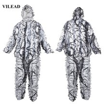 VILEAD 3d Snow Ghillie Suits White Camouflage Hunting Clothes Sniper Birdwatch Tactical Uniform Camo Outdoor Men Jacket Military