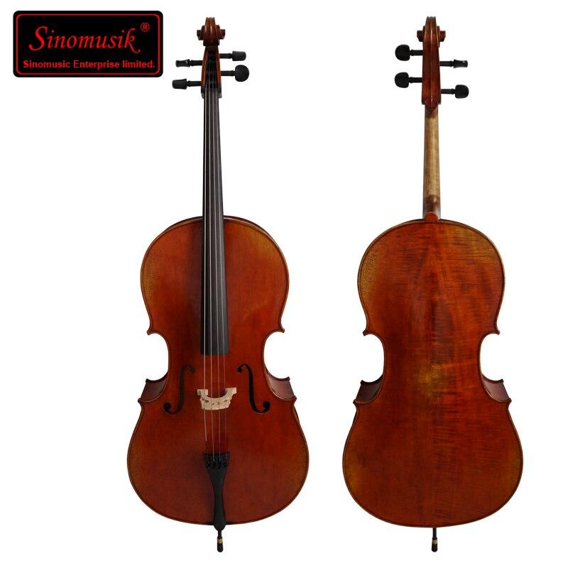 Huile faite à la main ANTIQUE rouge brun belle flamme érable violoncelle professionnel Antonio Stradivari 1716 an avec pièces en ébène modèle HC-08