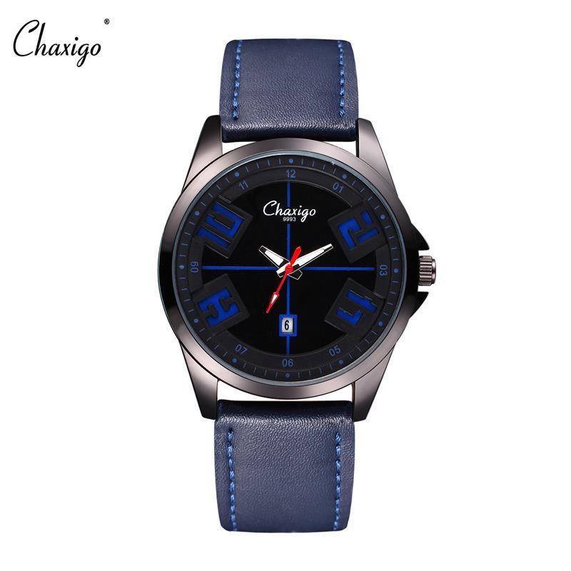 Chaxigo 2016 New font b Luxury b font Brand Leather Strap Analog Mens Quartz Date Clock