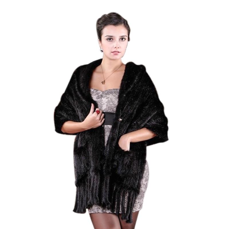 Нови дамски шал от естествена кожа Истински моден норковен шал Фенер с ресни шалове Минен плетен шал