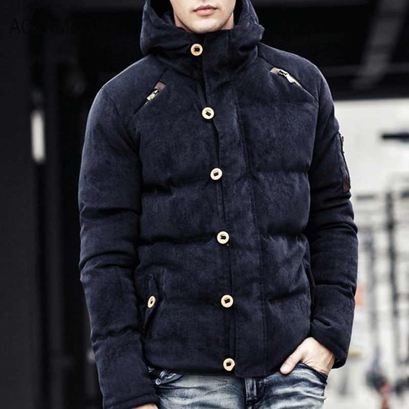 2016  Aolamegs Winter Jacket Men Corduroy Hooded Wadded Parka Coat Cotton Filling Thicken Warm Windproof Outwear Veste Hiver Hom 2017 winter new women hooded wadded jacket coat parka overcoat velvet thicken warm outwear high quality cloud printing