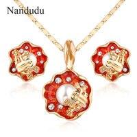 Nandudu Frog Pendant Necklace Earrings Jewelry Set Fashion Olivet Necklace Earring Hot Sale CN126