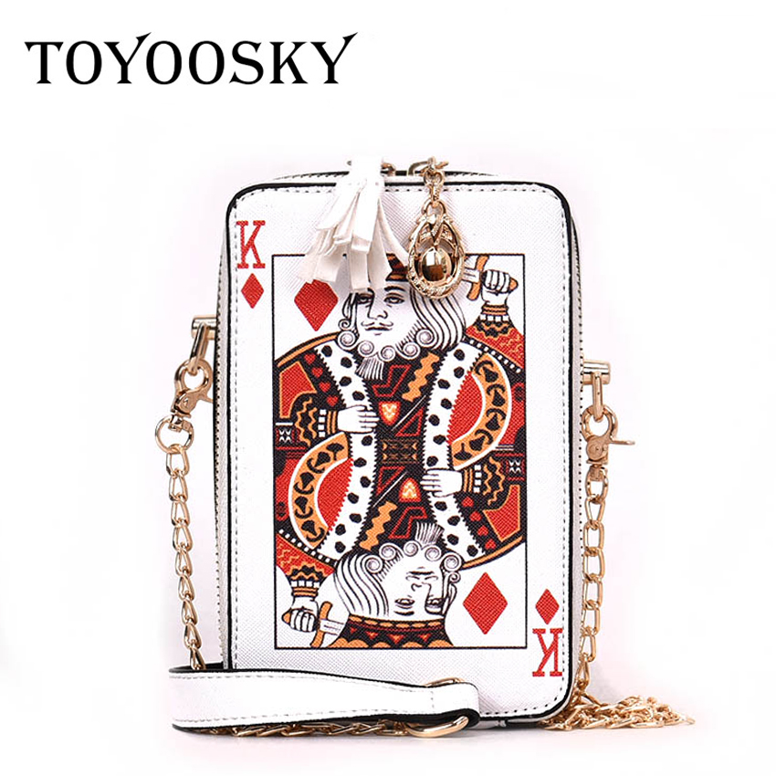 TOYOOSKY Fun cartoon poker messenger bags for women box style party clutch bag female chain handbag ladies crossbody bags