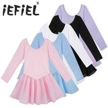 iEFiEL Girls Long Sleeve Ballet Dancer Leotard Tutu Dress Princess Gymnastics Dancing Wear Performance Dance Costumes Clothes